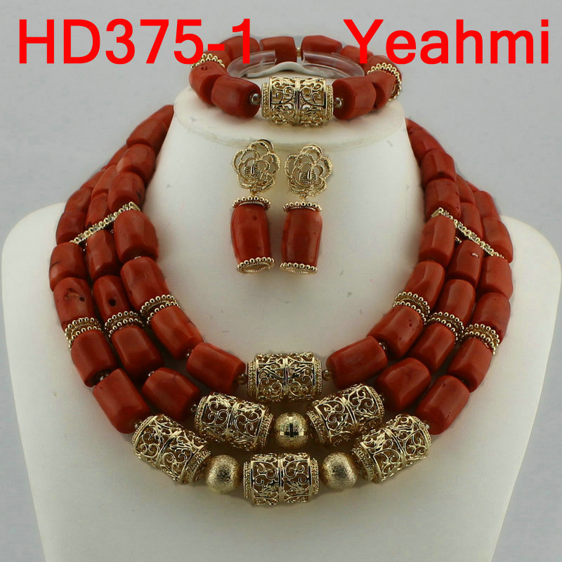 Dubai Indian Bridal African Coral Jewelry Sets Splendid Coral and Gold Nigerian Wedding Coral Beads Jewelry Set Original HD375-2 цены онлайн