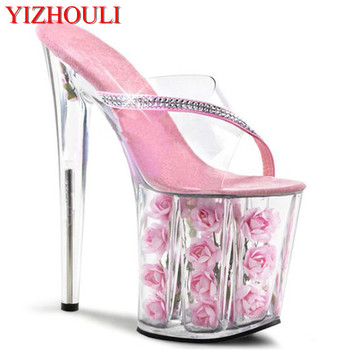 Sexy Exotic Dancer Shoes 8 Inch Pink Flowers For Wedding Crystal Shoes 20cm High-Heeled Shoes Rose Platform Women Slippers