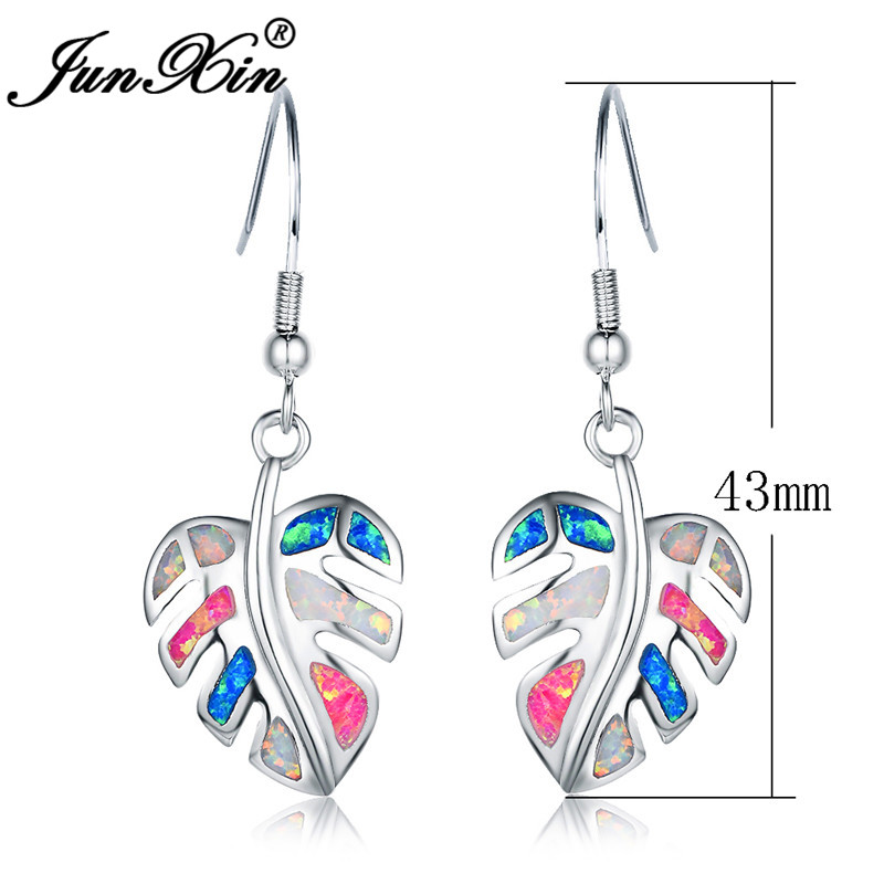 JUNXIN Silver Color Colorful Opal Earrings Blue White Pink Fire Opals Plant Maple Leaf Drop Earrings For Women