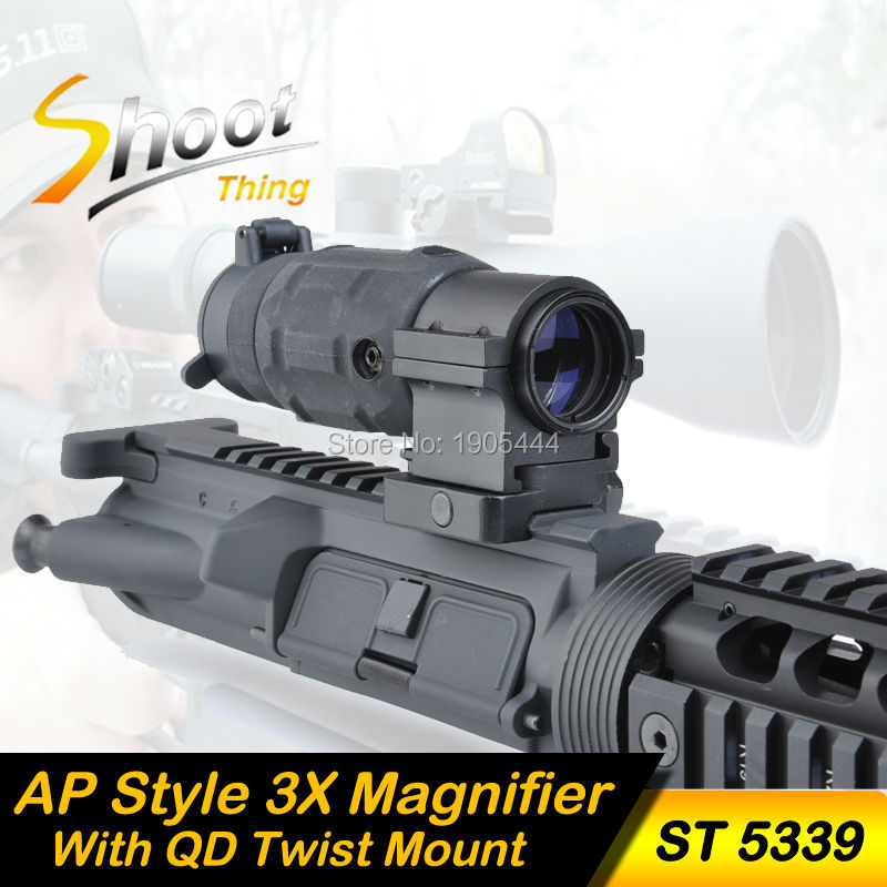 ST 5339 Tactical Gun holographic Rifle Scope AP Style 3X Magnifier With QD Twist RIS weaver Mount for hunting