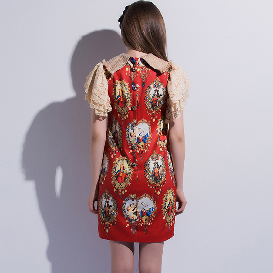 AELESEEN Designer Dresses Women 2018 High Quality Luxury Fashion Short Sleeve Print Red/Black Print & Embroidery Patchwork Dress-in Dresses from Women's Clothing    3