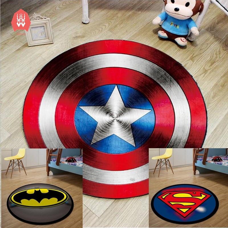 Round Carpet Batman Superman Printed Soft Carpets Anti Slip Rugs Superhero  Computer Chair Mat Floor