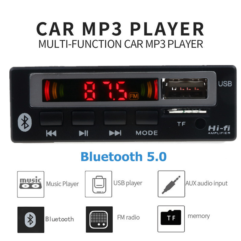USB 3.5mm AUX Bluetooth FM Radio V5.0 Wireless Receiver MP3 Player 5V 12V Mp3 Decoder Board Module 1 Din Music Speaker Car Kit