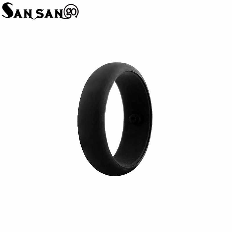 Trendy Black Color Environmentally Silicone Rings Size 5-9 Soft Flexible Punk Style Finger Rings Jewelry For Woman Men