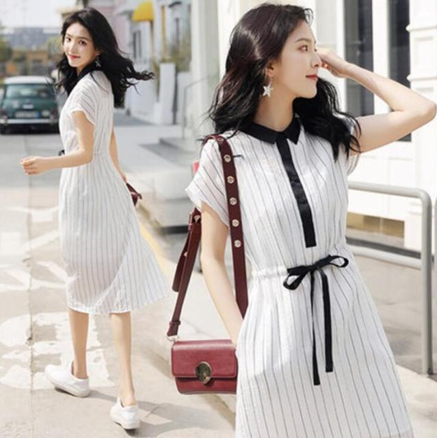 46d1775c530 Temperament shirt dress slim waist striped dress female summer drawstring  bow dresses with sling