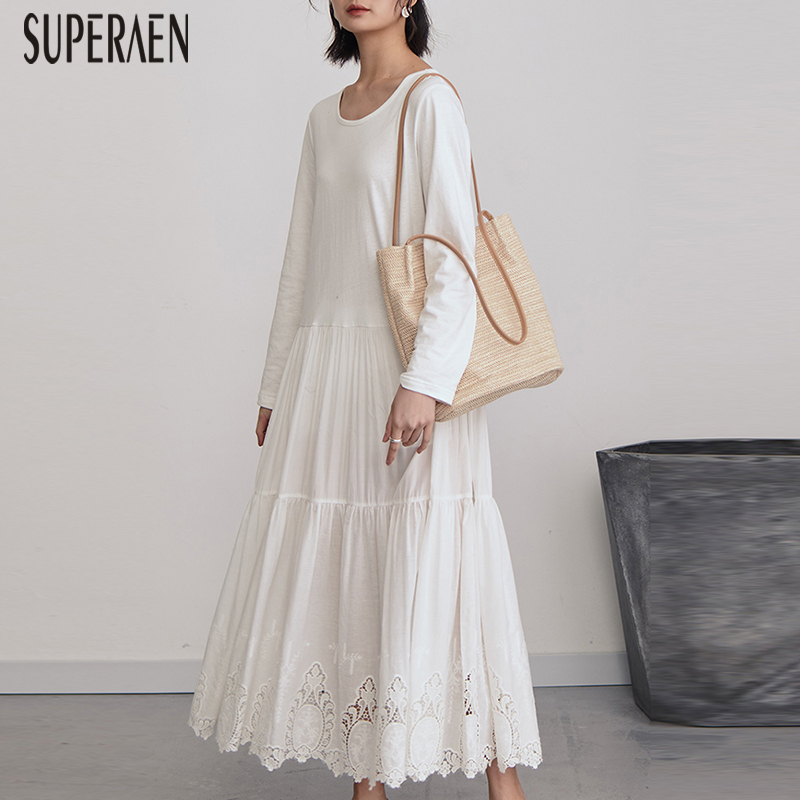 SuperAen Temperament Lace Stitching Dress Female 2019 Spring New Long Sleeve Women Dress Solid Color Cotton