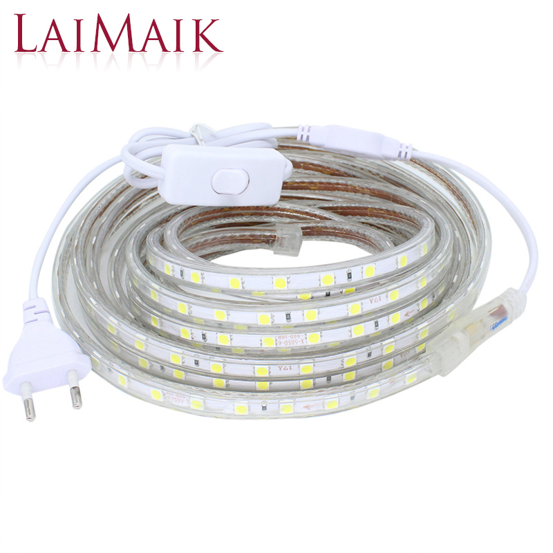 LAIMAIK Led Strip Lights Waterproof with ON/OFF switch AC220V Flexible Led Tape 60 leds/M outdoor LED Strip Lights for Kitchen