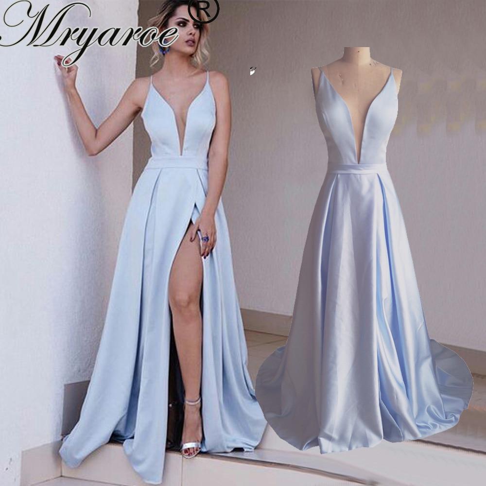 Simple Elegant Long Baby Blue Prom Dresses 2017 Deep V