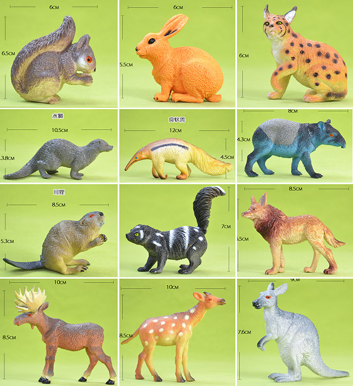 pvc  figure Rare Wild Animal Model Kangaroo Squirrel Bobcat Water Otter Anteater Anteat Beaver Beaver Elk  toy 12pcs/set polar marine animal model toy penguin reindeer polar bear blue whale walrus sea l toy model sets pvc figure