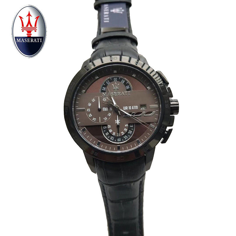 Maserati top brand multi-function men's quartz watch leather waterproof sports watch fashion casual waterproof men's watch multi function casual men quartz sports watch