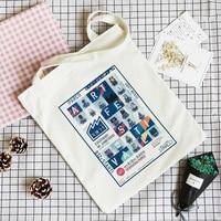 (1 pieces) custom logo canvas cotton shopping tote bag with zipper
