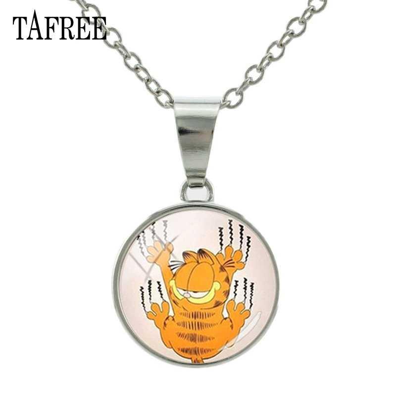 TAFREE 素敵な漫画の猫スナップボタンペンダントネックレスイエロー猫ガラスカボションネックレス金属チョーカージュエリーキッズギフト NS456