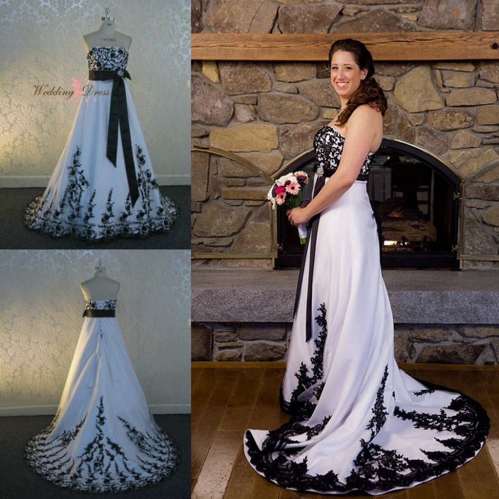 White And Back Victorian Gothic Wedding Dress Strapless Sleeveless ...