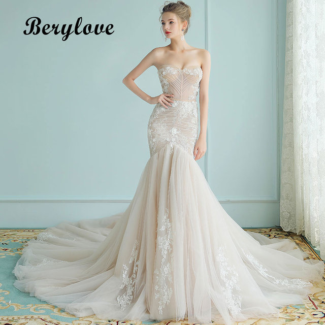 BeryLove Champagne Mermaid Lace Wedding Dresses 2018 Long Tulle ...