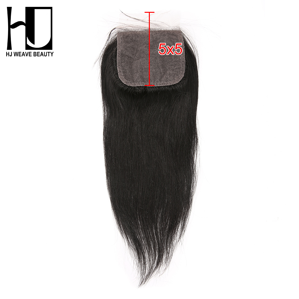 HJ Weave Beauty 5x5 Silk Base closure Brazilian Straight Free Part Lace Closure Human Remy Hair