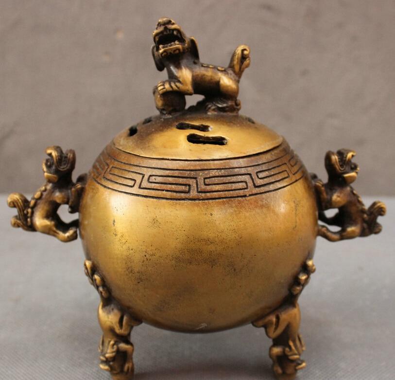 S4734 Folk Chinese Bronze Foo Fu Dog Lion Statue Sphere Box Incense Burner Censer D0317