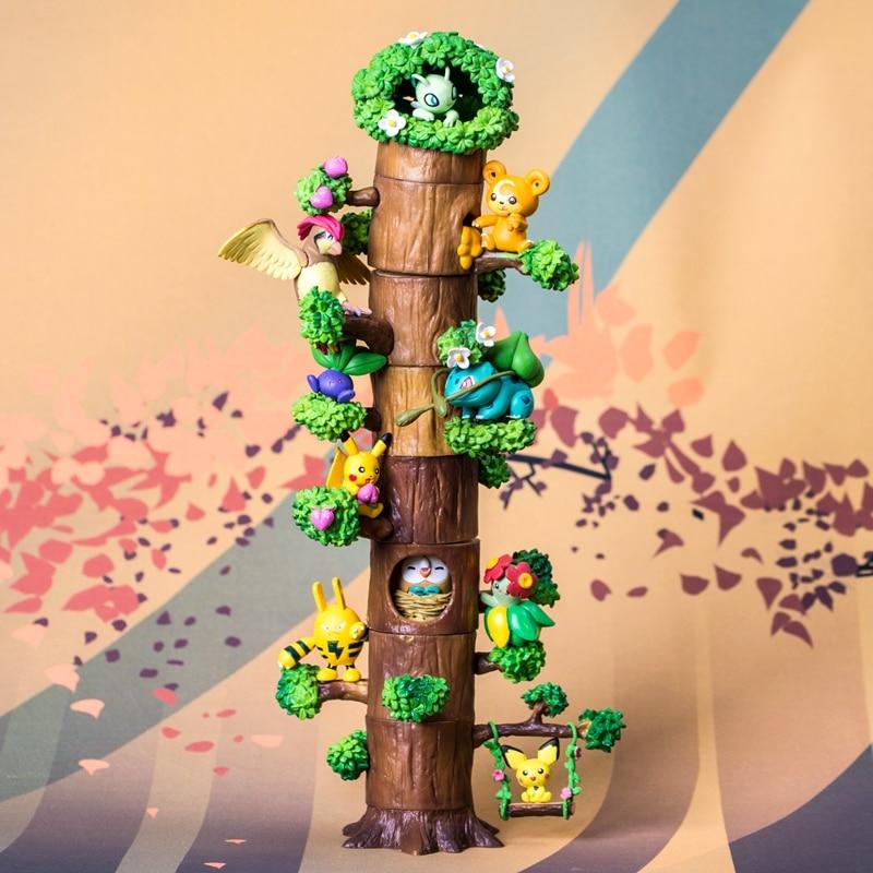 Anime Cute Pikachu Mokurah Celebi Bulbasaur 8pcs Figure in Forest Tree House Ver. PVC Action Figure Collection Model ToysAnime Cute Pikachu Mokurah Celebi Bulbasaur 8pcs Figure in Forest Tree House Ver. PVC Action Figure Collection Model Toys