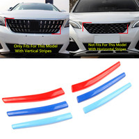Outer M Color Front Grille Inserts Cover Strips Decorative Trim For Peugeot 3008 3008GT 2016 2017