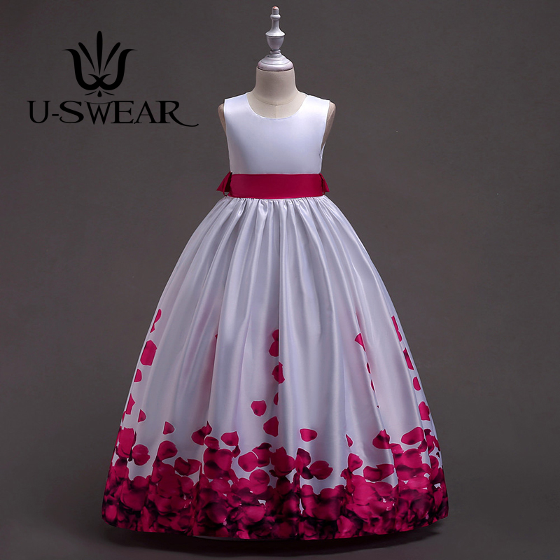 U-SWEAR 2019 New Arrival Kid Ball Gown   Flower     Girl     Dresses   O-neck Sleeveless Big Bow Back Petal Print Vestidos Largos De Flores