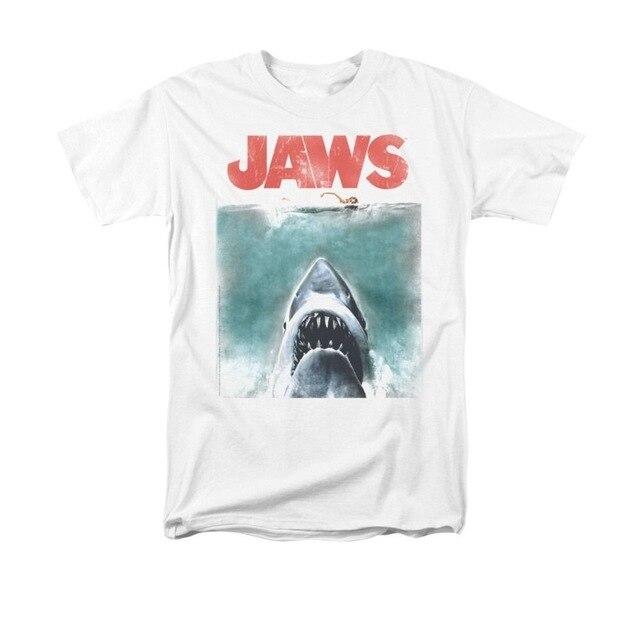 5576201c2ce7 Jaws Movie Vintage Poster men Adult T Shirt Short sleeve shark printed cool  tshirt