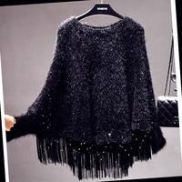 Sequined Fringed Cloak Loose Knit Cape Wrap Tassels Poncho Sweater O Neck Bat Sleeved Jackets Bat Shirts Tops Blouse Pashmina