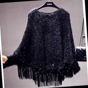 Sequined frędzlami płaszcz luźny dzianinowy Cape Wrap frędzle sweter ponczo O-Neck Bat rękaw kurtki Bat koszule topy bluzka Pashmina