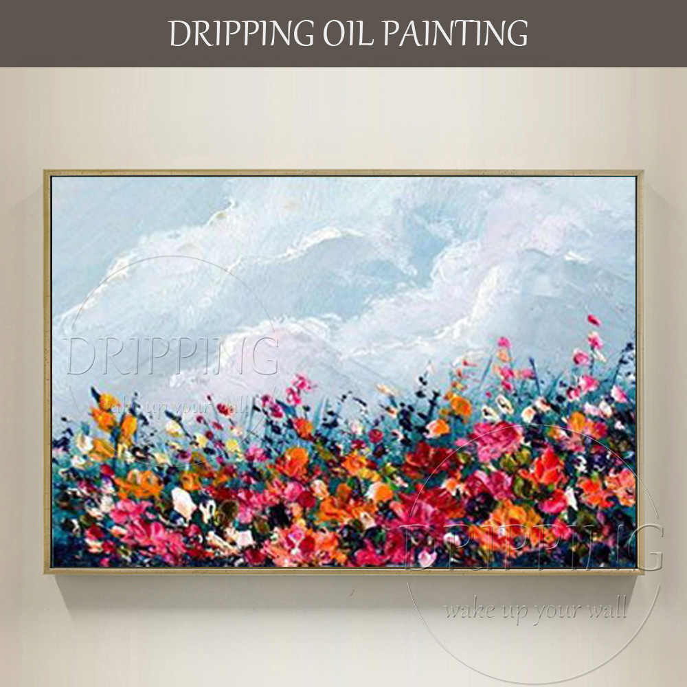 Hand-painted High Quality Field Flowers Oil Painting on Canvas Handmade Grey Sky Abstract Flower Oil Painting for Living Room