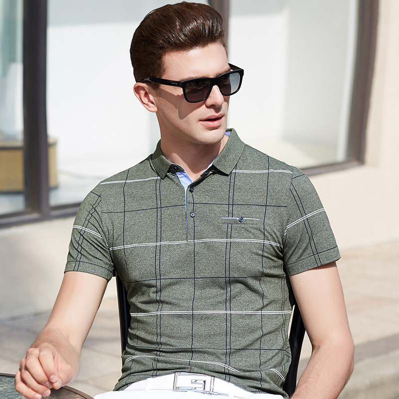 2019 Summer new arrival short sleeve cotton brand design plaid plus size XXXL homme camisa mens tops & tees pockets   polos