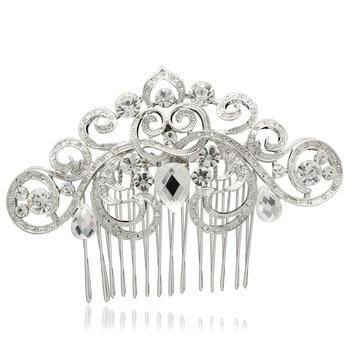 Bridal Hair Accessories Wedding Hair Comb Rhinestone Crystal Flower Leaf Hair Comb Bridesmaid Jewelry CO2292R