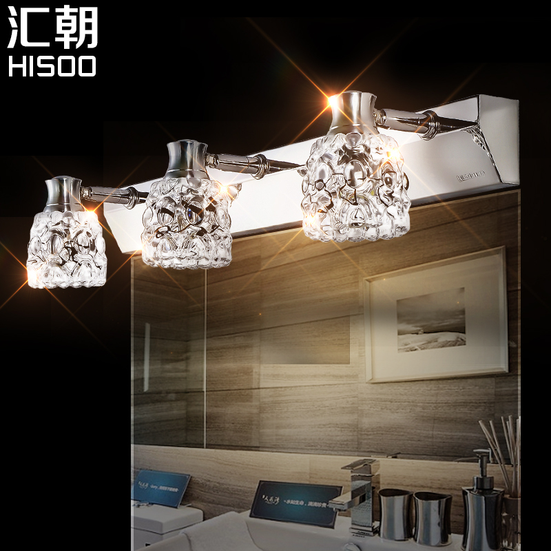ФОТО Fashion mirror light led brief modern mirror glass bathroom wall lamp crystal stainless steel mirror cabinet lamp
