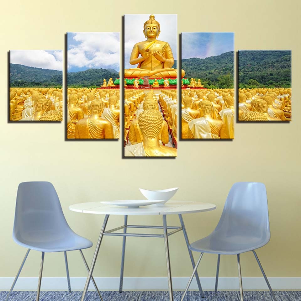 Framed Canvas Wall Art Posters HD Prints Paintings 5 Pieces Golden ...