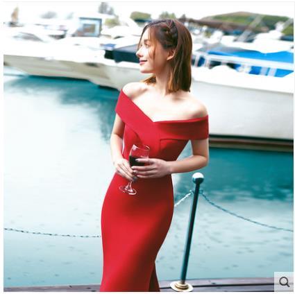 Banchetto Nuovo Alla Moda Cerimonia Della Personalizzare Riunione spalla Adulti Società Di Elegante Rosso Un Un Nozze Annuale Vestito 5aqZnwx1tZ