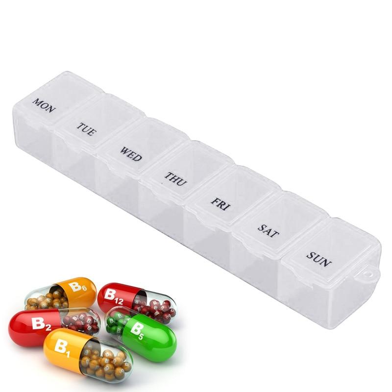 7 Days Slot Weekly Medicine Storage Container Organizer Case Mini Pill Box Organizer Tablet Holder For Diet Storage Plastic Box