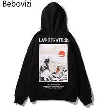 Bebovizi Japanese Streetwear Style Waves Cat Print Pullover Hoodies Sweatshirts Men 2018 Autumn Winter Hip Hop Casual Hoodie одежда для дам waves bo autumn lbjq15x255 40 50