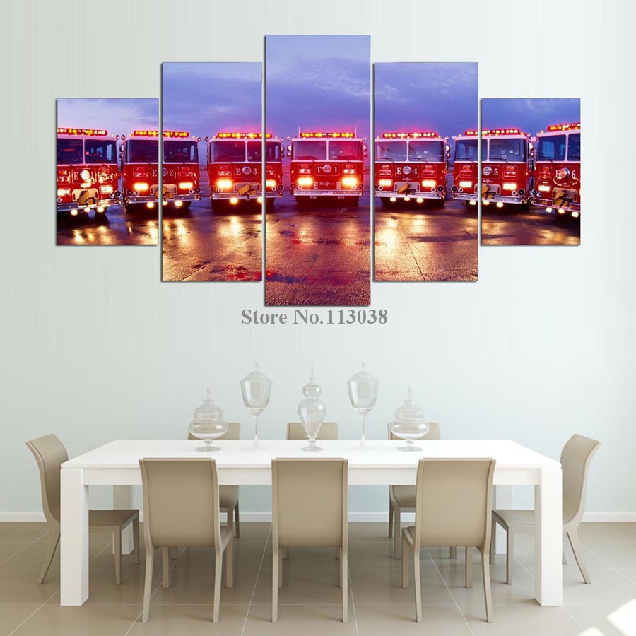 Free Shipping 5 Panels Modern Fire Engine Printed Canvas Painting Living Room HD Wall Art Pictures With Frame Dropship In Calligraphy From Home