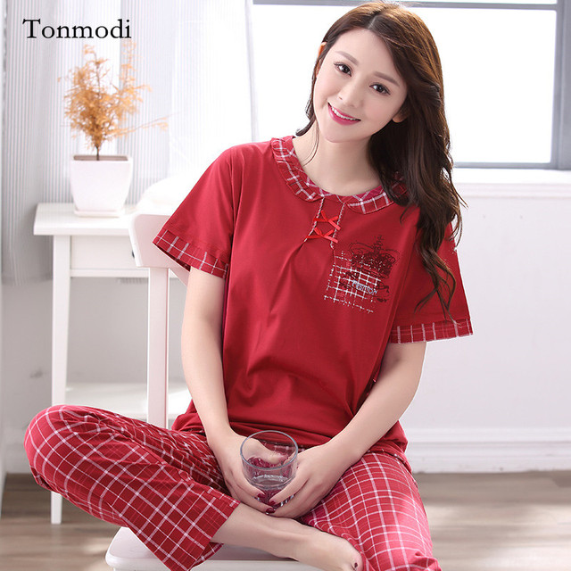 a0b2d14a31 Pajamas for women Summer short-sleeve cotton sleepwear trousers loose Women  lounge Pajamas Set
