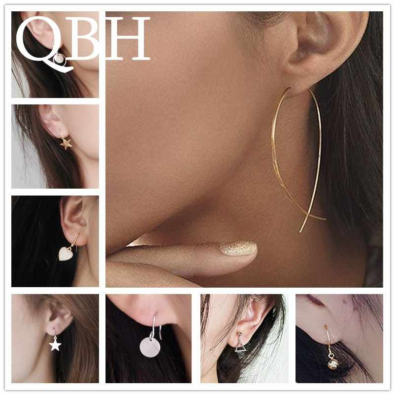 New Fashion Sexy Tiny Triangle Round Coin Drop Earrings for Women Cheap Jewelry Star Leaf Dangle Brincos LOVE Hear Ball Boucles