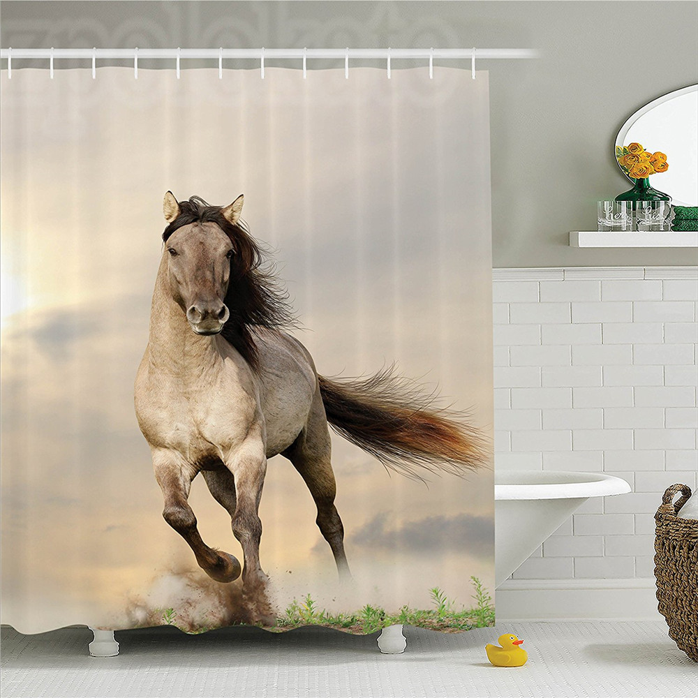 Wild Young Stallion Horse Running at Sunset Male Power Nake Muscular Physique Nobility Polyester Bathroom Shower Curtain