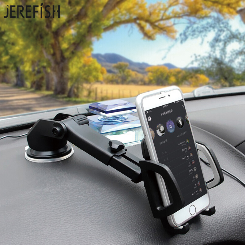 JEREFISH Windshield Car Phone Holder Stand Dashboard Universal 360 Rotate Adjustable Phone Car Mount for iPhone 8 8Plus X Huawei