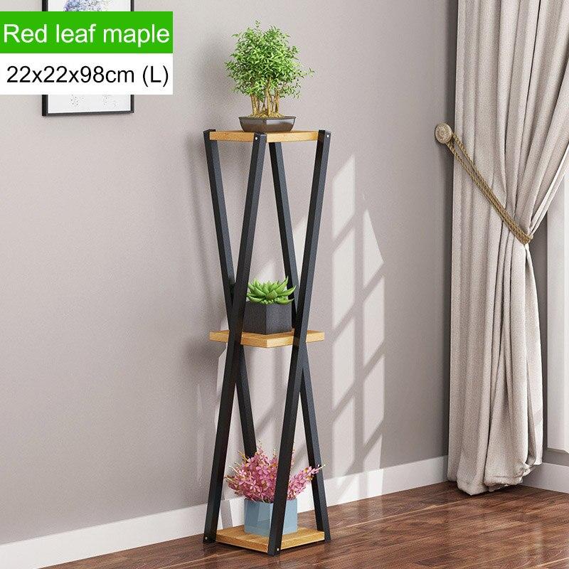 Многослойное платье с цветочным узором подставкой внутренние, из кованого железа балкон цветочный горшок стойки напольные Ящики для гостиной шкаф мебель для дома - Цвет: L168-L-brown