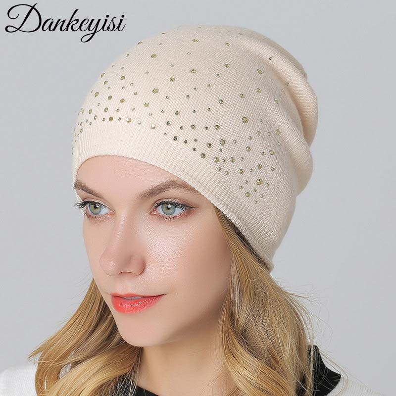 DANKEYISI Brand Casual Knitted Vogue Hat Women Wool Caps   Skullies     Beanies   Winter Thick Warm Vogue Ladies Warm Hat Female Cap