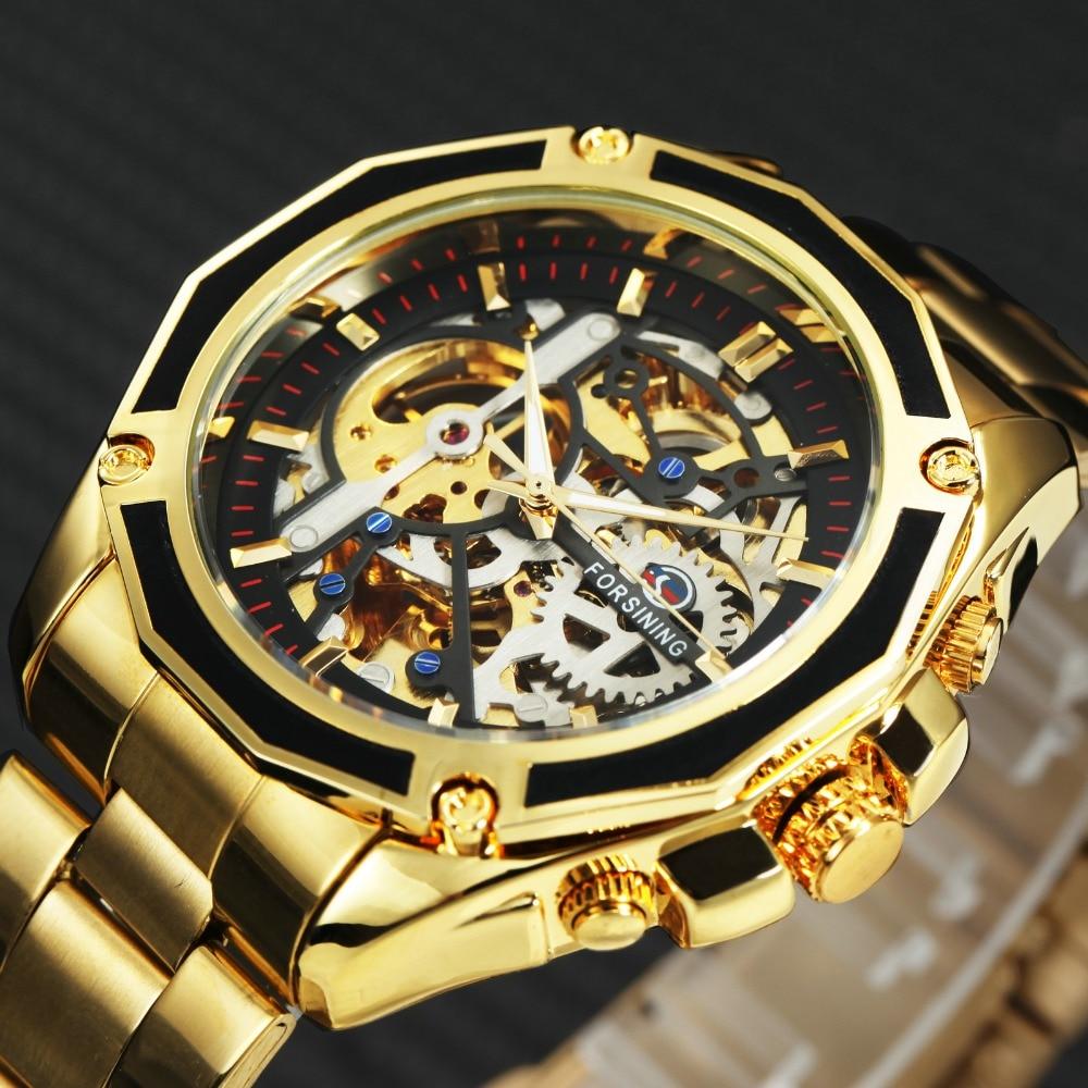 FORSINING Royal 3D hombre esqueleto mecánico Auto reloj TOP marca de lujo de oro Dial ganador Mens relojes automáticos INS caliente diseño