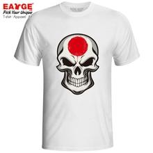 все цены на Mysterious Smile From Japan Skull T Shirt Evil Flag Cartoon Design Rock Skate Print T-shirt Casual Fashion Men Women Tee