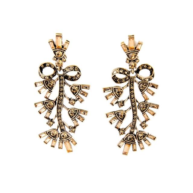 Christmas New Designer False Piercing Ear Clip Earrings Gold Color Set Champagne Zircon