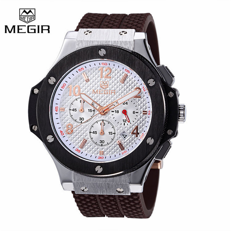 MEGIR Chronograph 6 Hands 24 Hours Function Men Sport Watch Silicone Luxury Watch Men Top Brand Military Watch Relogio Masculino