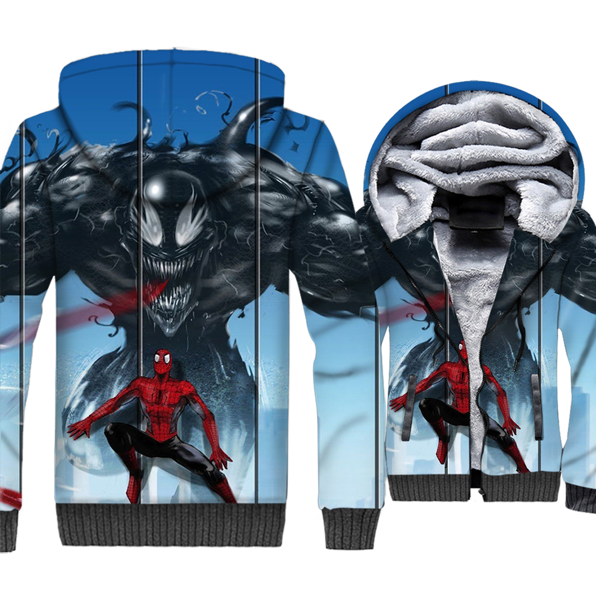 hipster Superhero jackets coats 2019 Spiderman Venom hip-hop clothes men hooded hoodies 3D printed sweatshirts plus clothing 5XL
