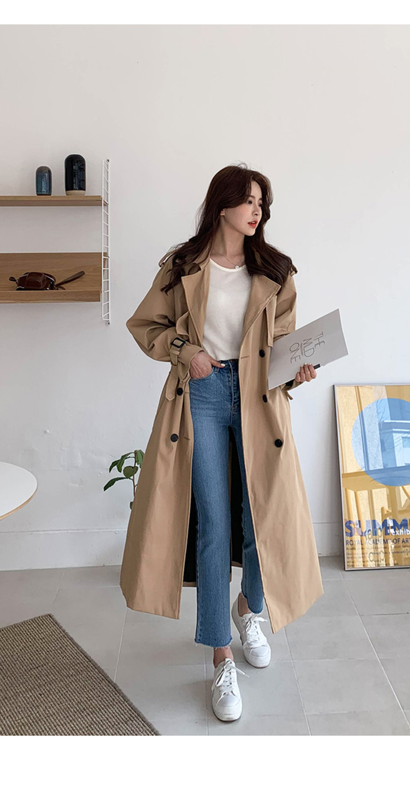 19 New Autumn Winter Women's Coat Korean Windbreaker Female Plus Size Double Breasted Ladies Long Chic Trench Coats 6