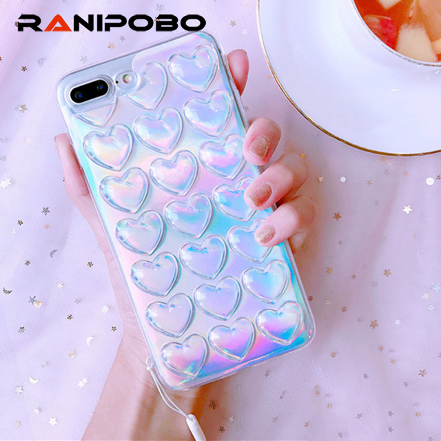 04cc161d50 Ranipobo Phone Case For iPhone 6 6S 7 7 Plus Laser LOVE Heart Transparent  Soft TPU Phone Back Cover Cases For i6 6s With Lanyard