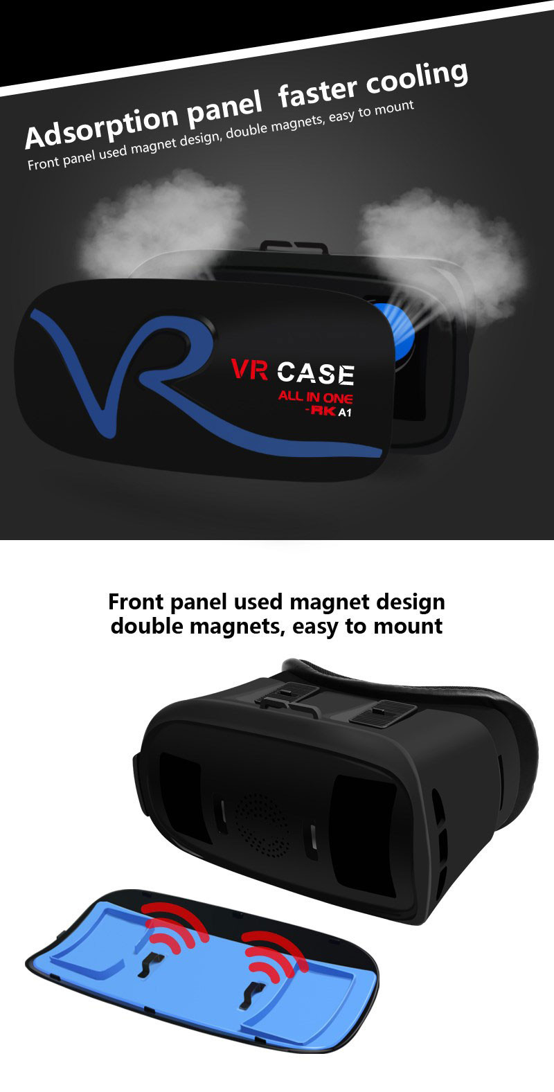 All IN ONE VR Glasses VR CASE RKA1 VR Headset Virtual Reality Glasses for 4-5.8 inches iPhone Mobile 3D IMAX Touch Control Blue 15