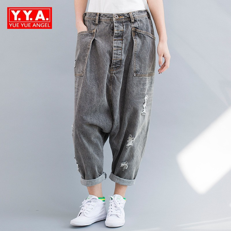 Japan Style Baggy Jeans for Women Personalized Loose Harem Drop Crotch Pants Cowgirl Fashion Grey Hole Cuffs Casual Trousers ohryiyie women high waisted jeans boyfriend harem pants women loose ripped hole jeans for women fashion trousers femme plus size page 3